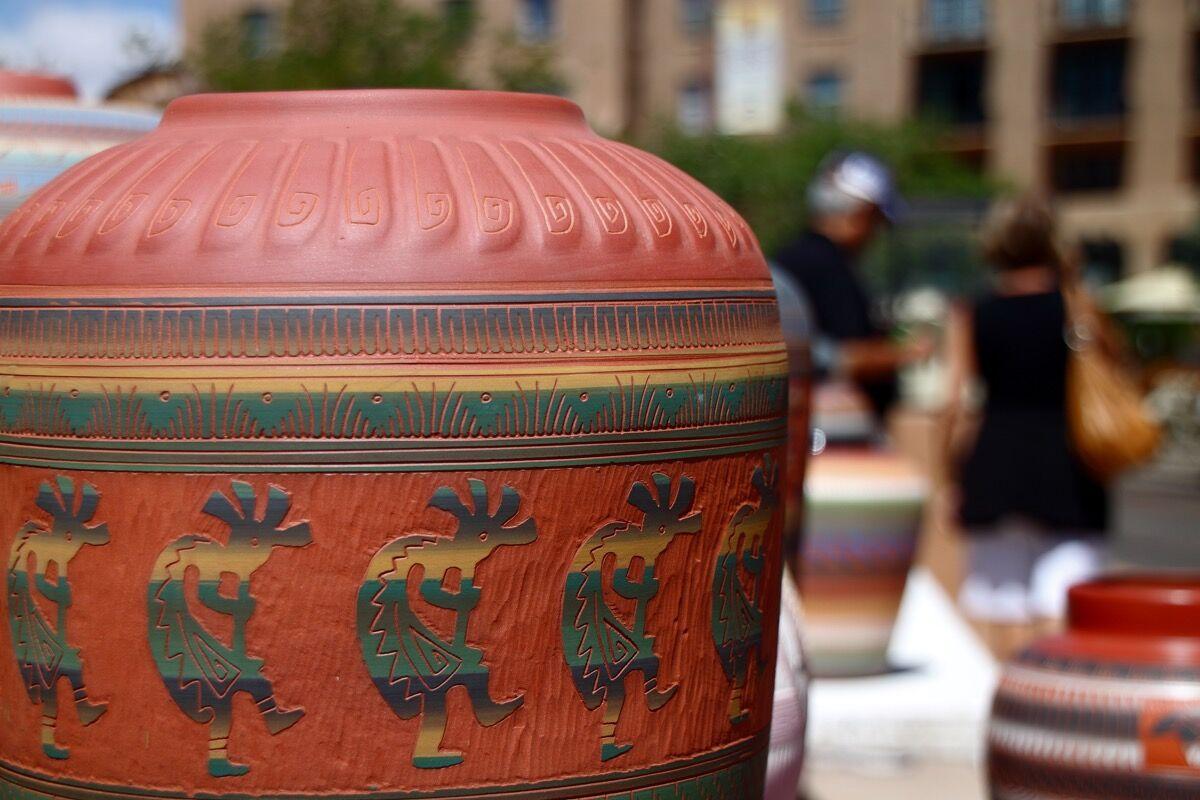Pottery with Kokopelli motif, Santa Fe, New Mexico, 2010. Photo via Flickr.