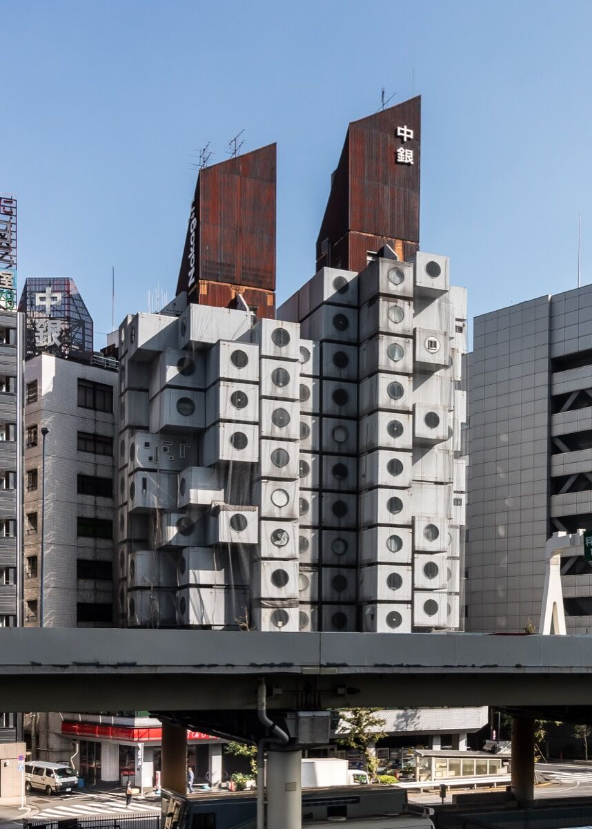 Kisho Kurokowa, Nakagin Capsule Tower, 1970. Image via Wikimedia Commons.