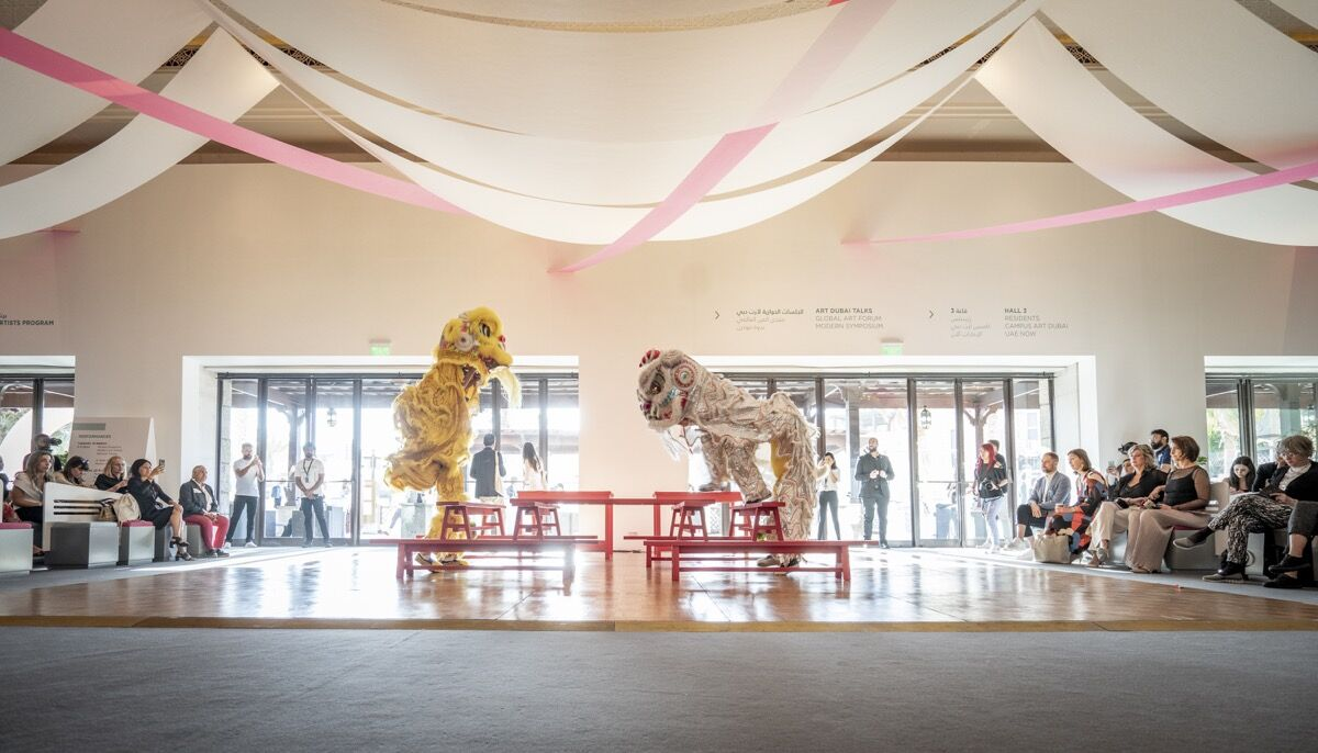 Samson Young, performance view of Muted Situation #2: Muted Lion Dance at Art Dubai 2019. Courtesy of Photo Solutions.