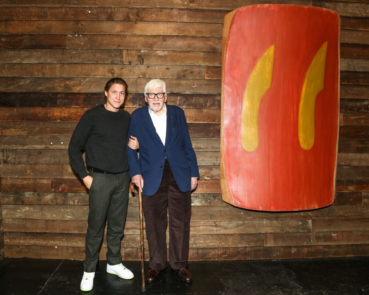 """Portrait of Vito Schnabel and Ron Gorchov at the opening of """"Ron Gorchov: Works from the 1970s"""" at Vito Schnabel Gallery, New York, 2016. Photo by Tiffany Sage. Courtesy of BFA."""