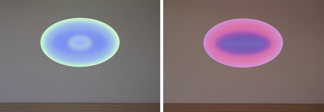 Left:James Turrell, Elliptical Wide Glass, 2014. Right: Elliptical Wide Glass, 2014.© James Turrell.Courtesy Kayne Griffin Corcoran and the artist.