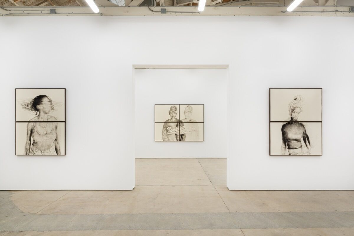 "Installation view of Kenturah Davis, ""Blur in the Interest of Precision,"" at Matthew Brown Gallery, 2019. Courtesy of Matthew Brown Los Angeles."