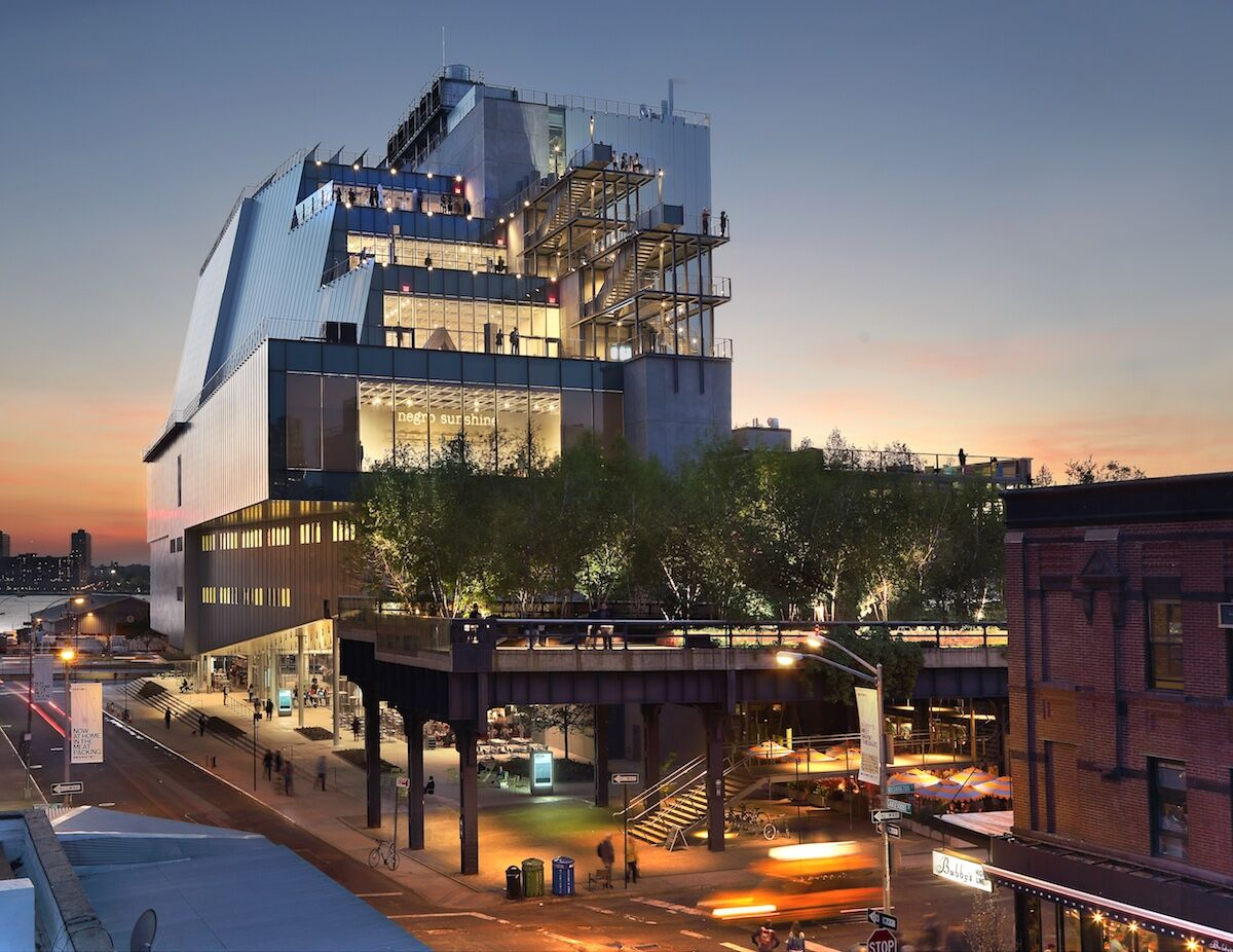 View of the Whitney Museum of American Art from Gansevoort Street. Photo by Ed Lederman, 2015, courtesy the Whitney Museum.