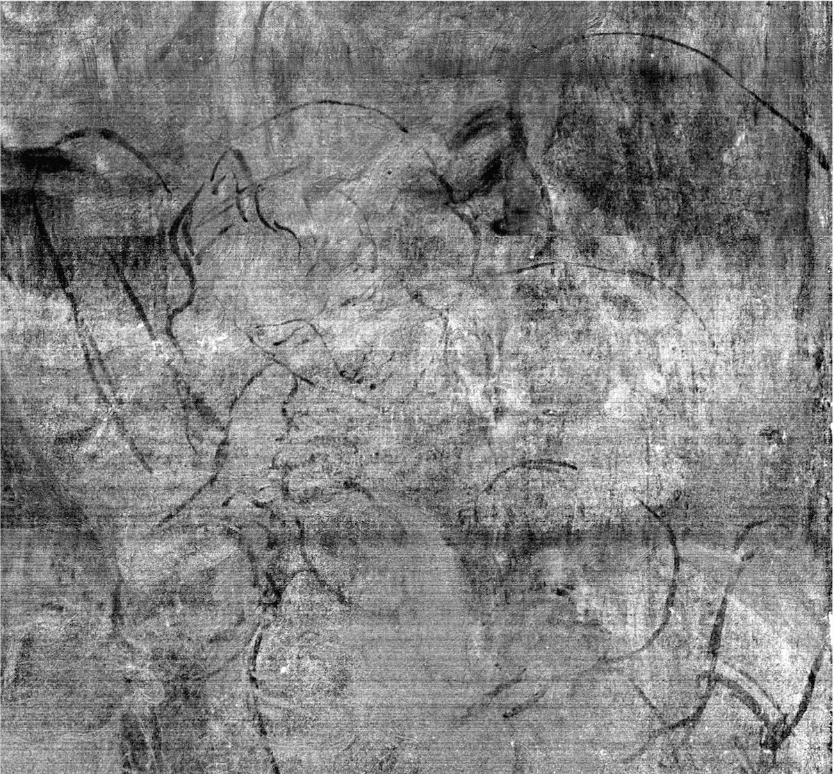 Detail from hyperspectral imaging data, revealing the drawing for the angel and baby of the first composition (under the landscape at the right side of the painting). © The National Gallery, London.