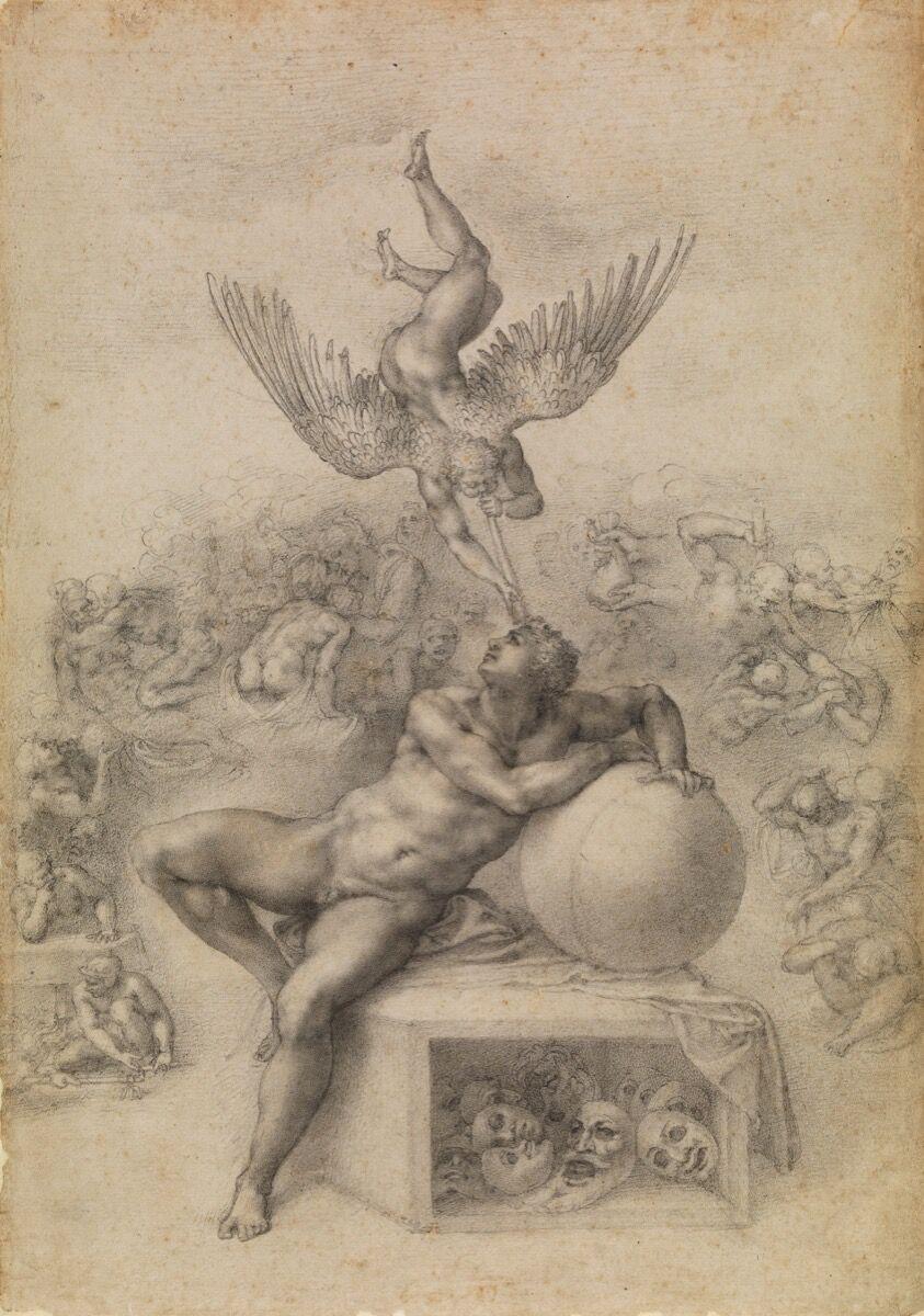 Michaelangelo Buonarroti, Il Sogno (The Dream), 1530's. Courtesy of the Metropolitan Museum of Art.