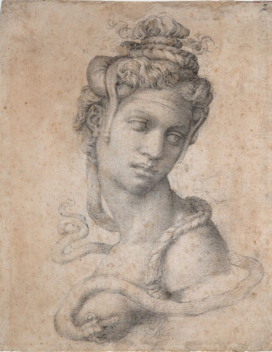 Michaelangelo Buonarroti, Female Figure Seen in Bust-Length from the Front (Cleopatra) (recto and verso), ca. 1530-33. Courtesy of the Metropolitan Museum of Art.