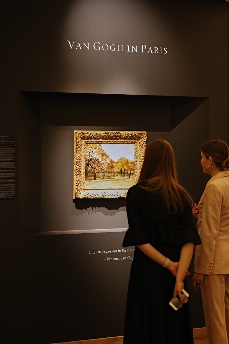 Vincent van Gogh, installation view ofThe Bois de Boulogne with People Walking, 1886, in Hammer Galleries's booth at TEFAF Maastricht, 2020. Courtesy of Hammer Galleries and TEFAF Maastricht.