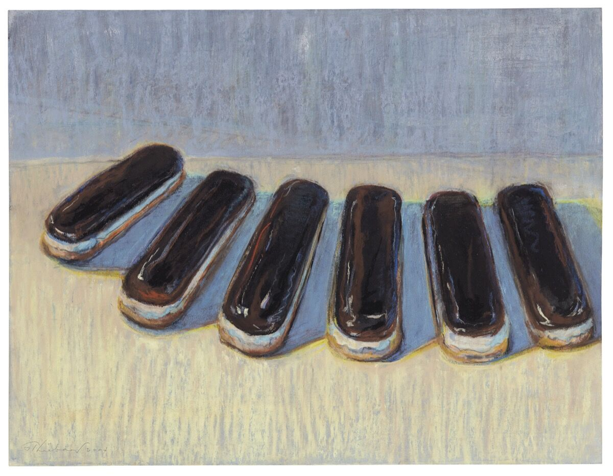 "Wayne Thiebaud, Six Eclairs, signed and dated ""Thiebaud 2004"" (lower left). Courtesy of Christie's."