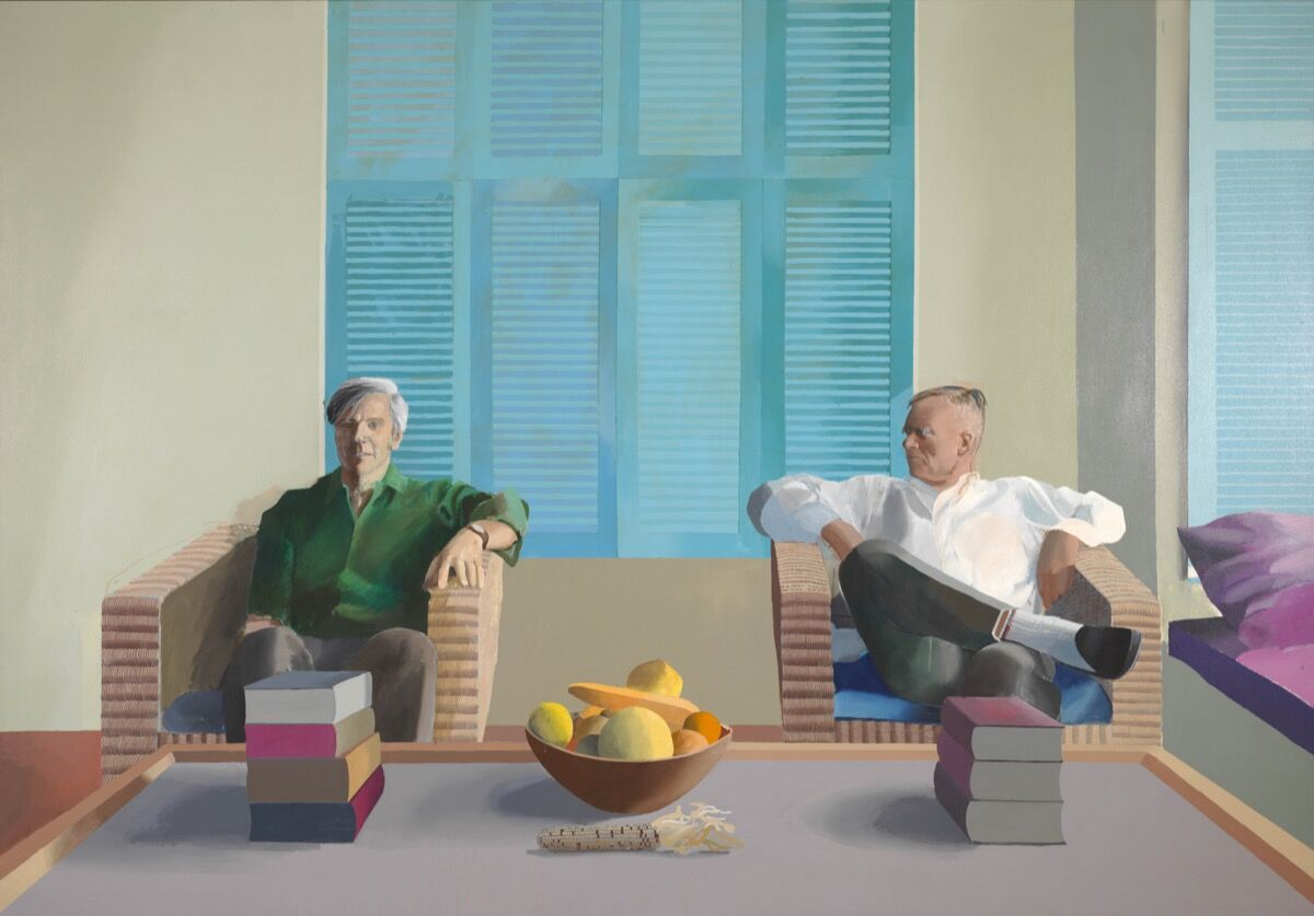 David Hockney, Christopher Isherwood and Don Bachardy, 1968.Private collection. © David Hockney. Image courtesy of Tate.