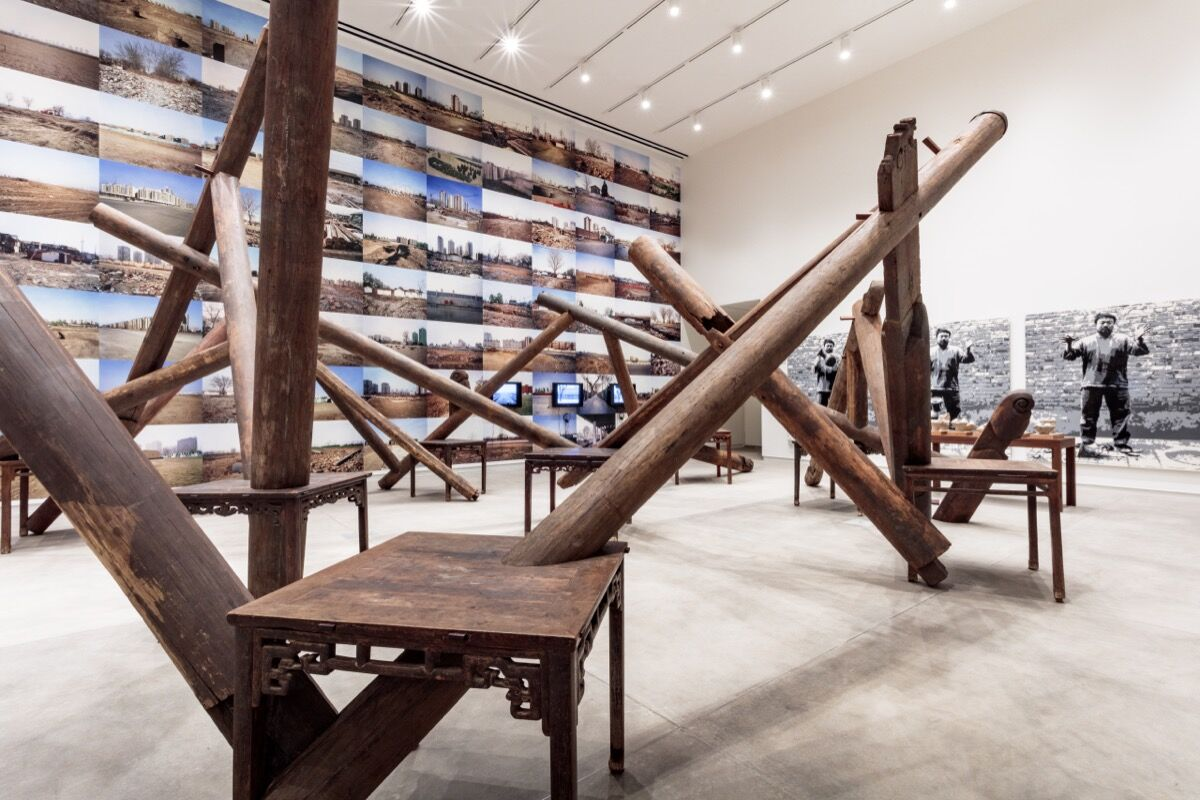 """Installation view of Ai Weiwei, Through, 2007–08, in """"Bare Life,"""" 2019. Photo by Joshua White. Courtesy of the Mildred Lane Kemper Art Museum."""
