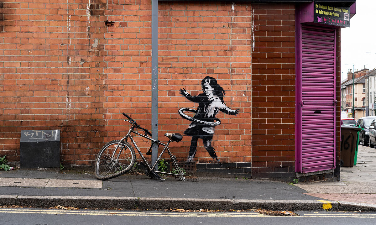 Banksy's most recent work of art was painted outside of a salon in Nottingham. Via Banksy.co.uk.