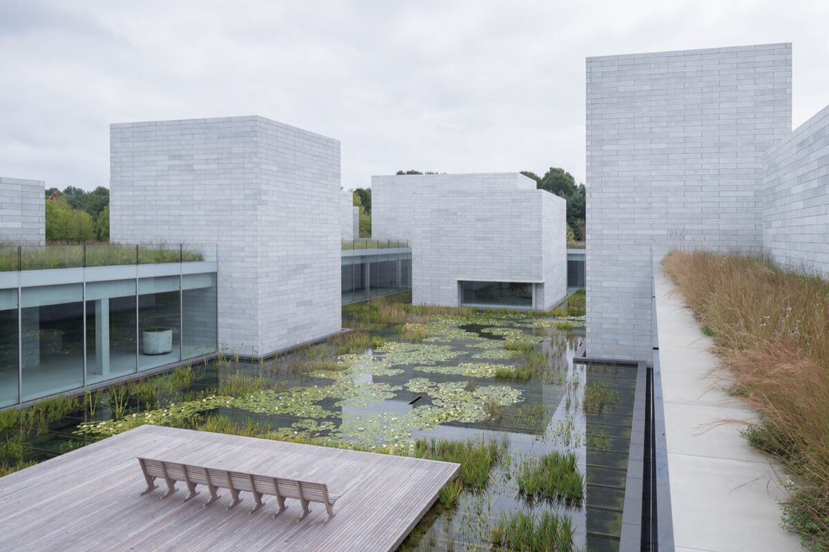 View of the water court at the Pavilions. Photo by Iwan Baan. Courtesy of Glenstone Museum.