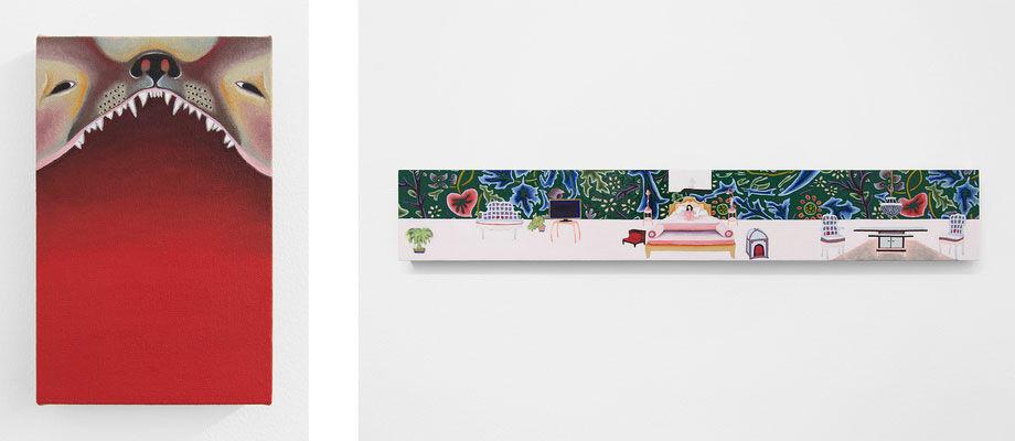Left: Alexandra Noel, Devil Dog I, 2016; Right:Alexandra Noel,Ponytail Palm, Sleep Tight, 2016. Images courtesy of Bodega.