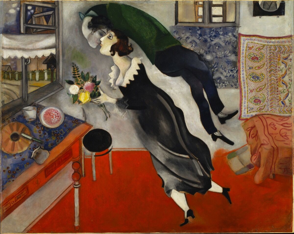 Marc Chagall, Birthday (L'anniversaire), 1915. © Marc Chagall, Vegap, Bilbao 2018. Photo © The Museum of Modern Art, New York / Scala, Florence. Courtesy of the Guggenheim Bilbao.