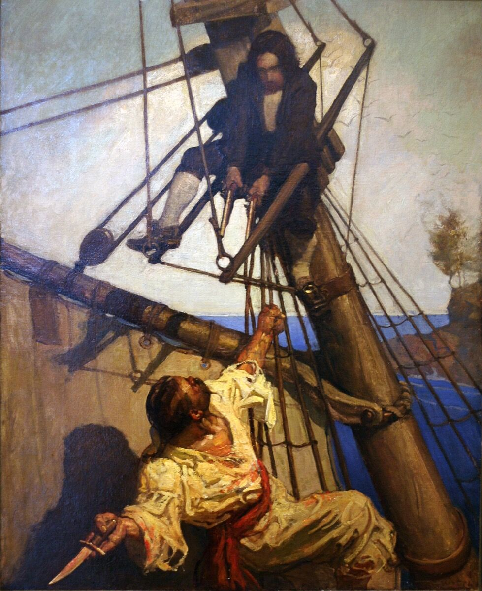 "N.C. Wyeth, ""One more step, Mr. Hands,"" said I, ""and I'll blow your brains out!,"" from Treasure Island, 1911. Photo via Wikimedia Commons."
