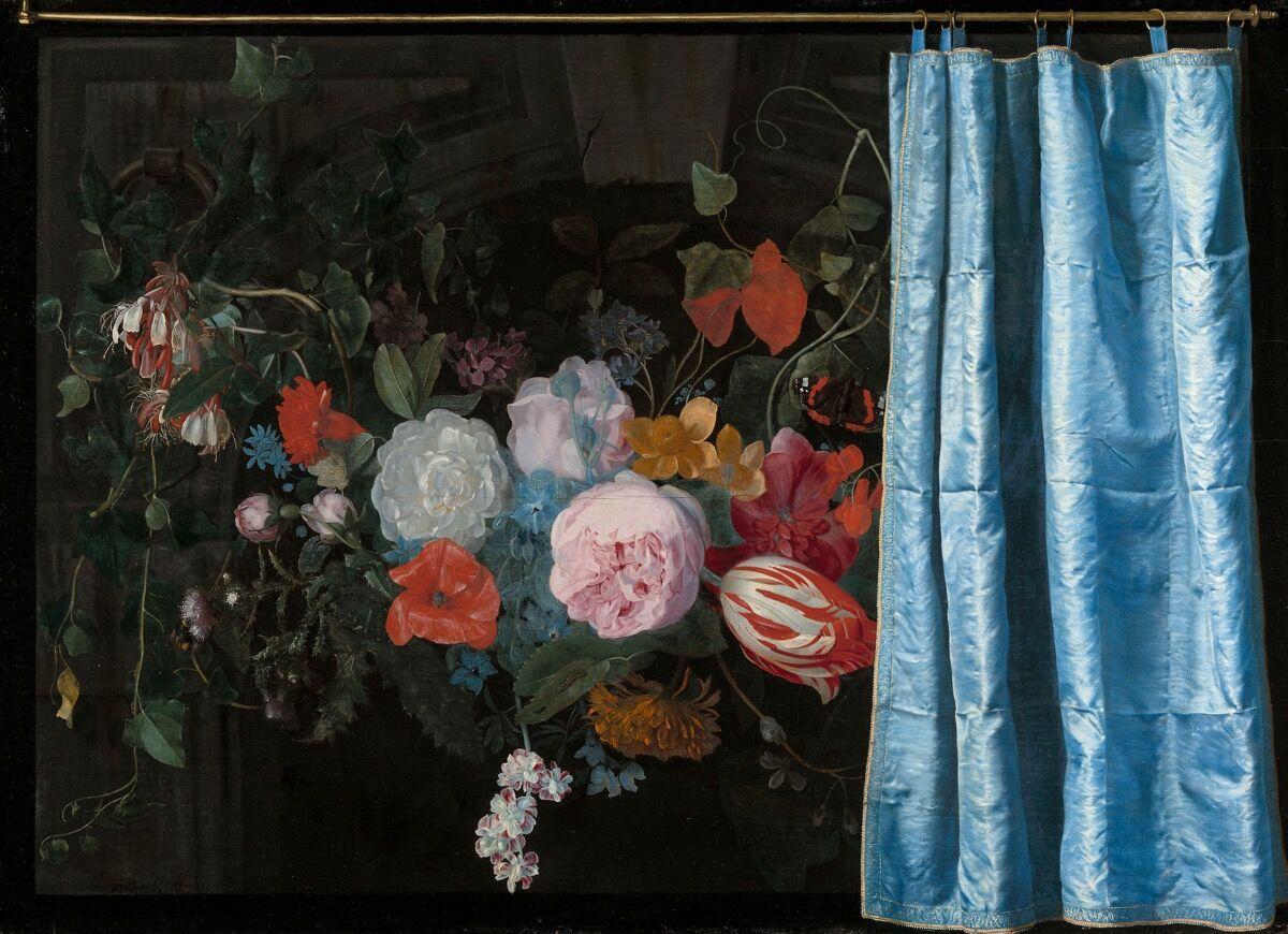 Adriaen van der Spelt, Trompe-l'Oeil Still Life with a Flower Garland and a Curtain, 1658. Courtesy of the Art Institute of Chicago.