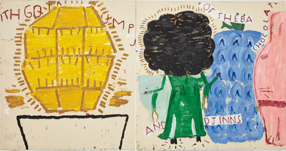 Rose Wylie, Queen of Sheba with Gold Lump, 2012. Courtesy of Phillips.