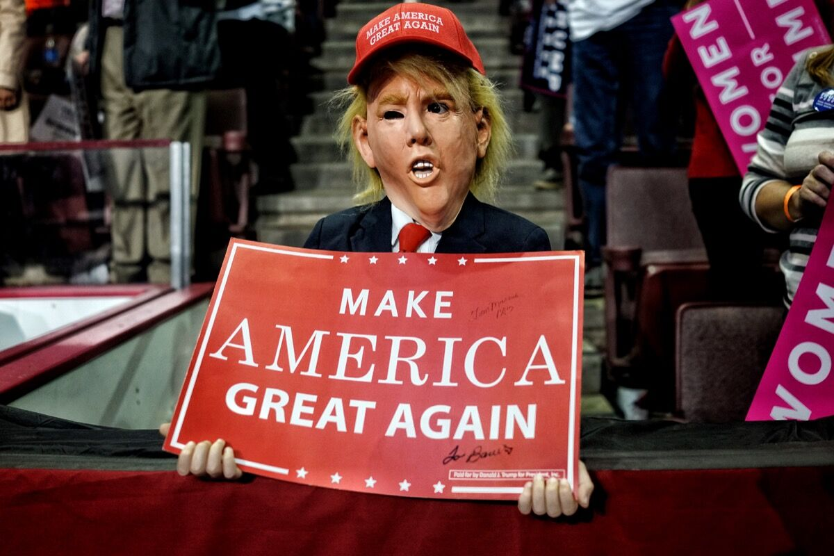 Supporters of Republican presidential nominee Donald Trump cheer for him during a campaign rally at the Giant Center November 4, 2016 in Hershey, Pennsylvania.
