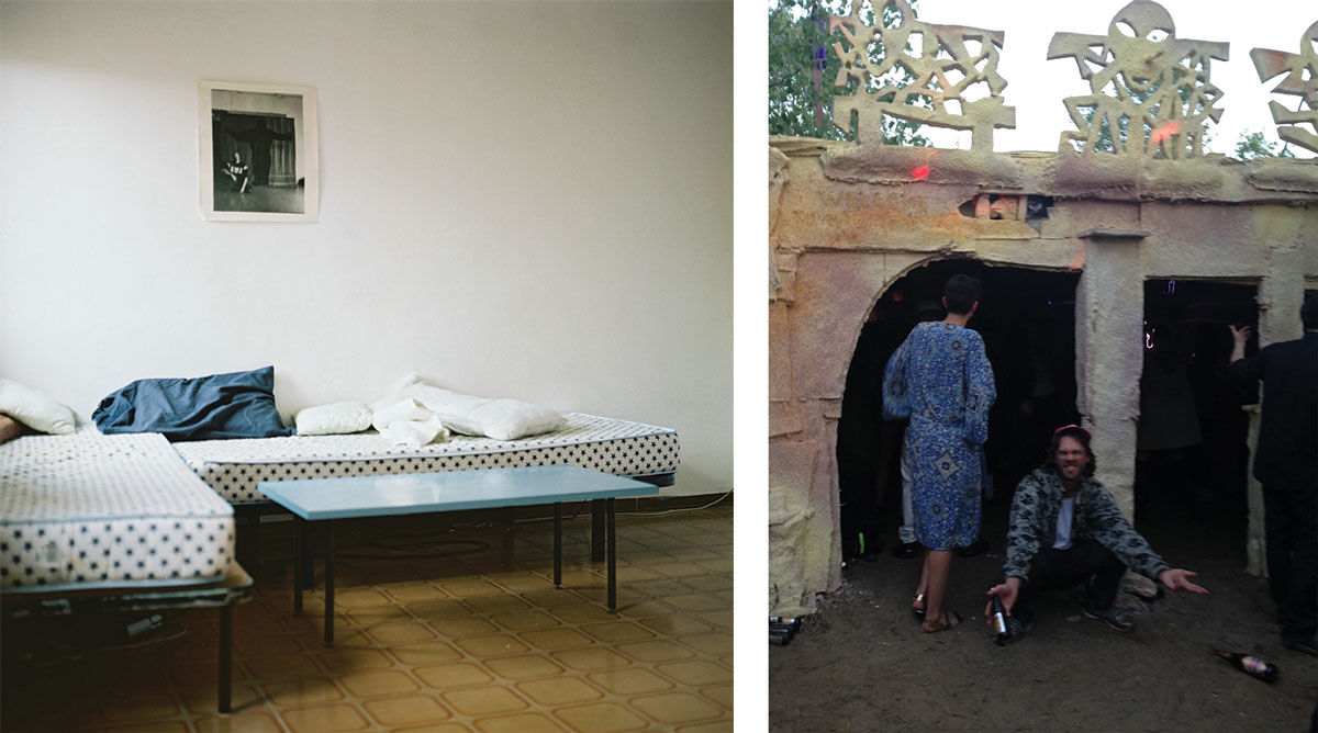 Left: Sofa beds at Bar Grroawl with Petter Lehto's Figures in a Loggia on the wall, 2013. Photo©Carl Palm. Right: ArvidWretman's Welcome to the Thunderdome with a piece by Dorota Gaweda embedded, 2015. Photo©Yann Gerstberger.