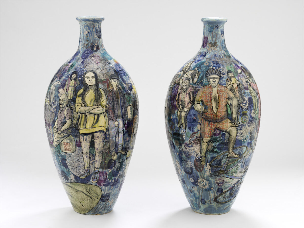 Grayson Perry, Matching Pair, 2017, two ceramic vases. © Victoria and Albert Museum, London.