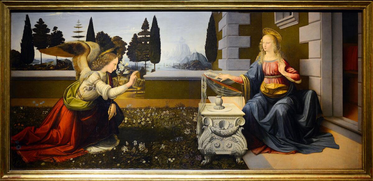 Leonardo da Vinci, The Annunciation, c. 1472. Courtesy the Uffizi Gallery, Florence, via Wikimedia Commons.