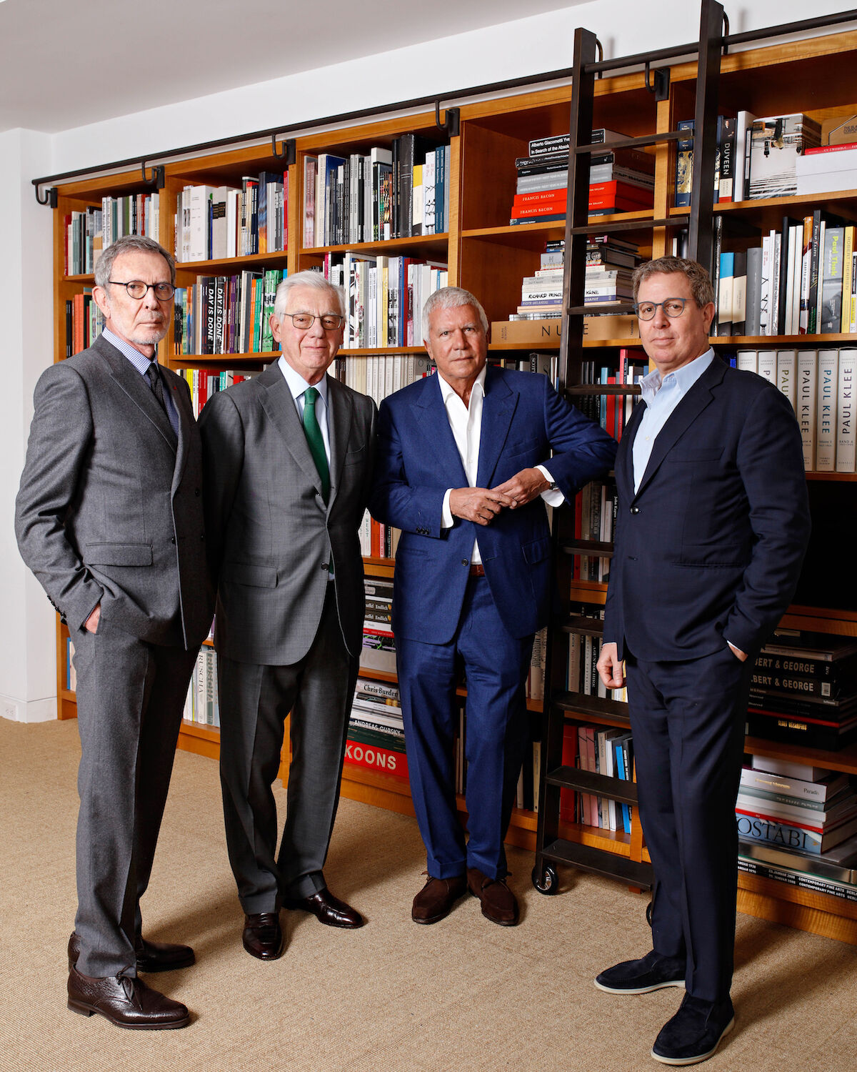 From left to right: Arne Glimcher, Bill Acquavella, Larry Gagosian, and Marc Glimcher. Photo © Axel Dupeux.