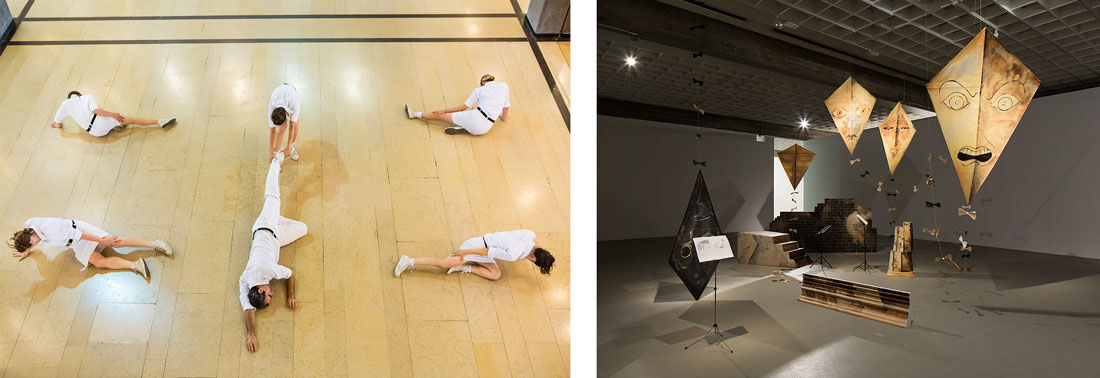 """Left:Public Movement, National Collection, Tel Aviv Museum of Art, 2015. Photo by Kfir Bolotin. Right:Michael Helfman, While Dictators Rage, 2013, performative installation after """"The Triumph of Death"""" by Felix Nussbaum, Tel Aviv Museum Collection. Photos courtesy of the Tel Aviv Museum of Art."""