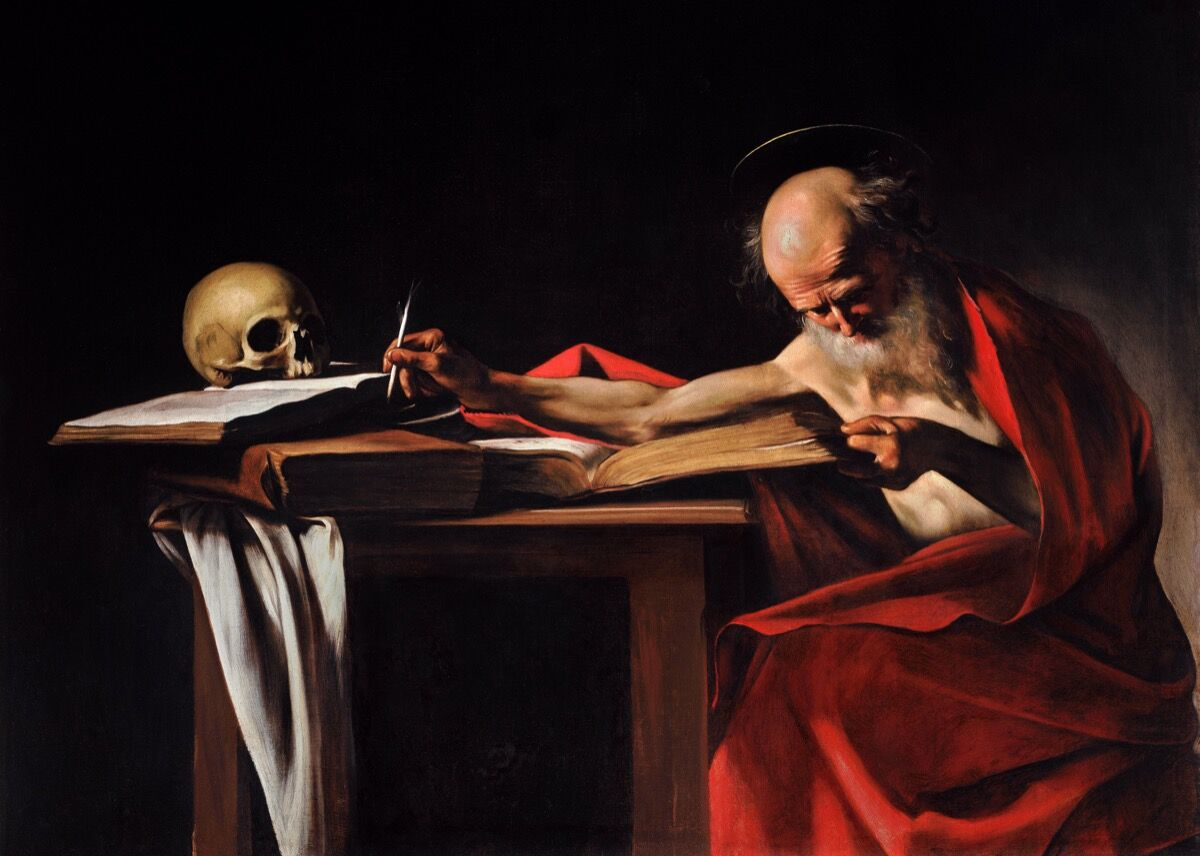 Michelangelo Merisi da Caravaggio, Saint Jerome Writing, 1605–05.  Imagen vía Wikimedia Commons.
