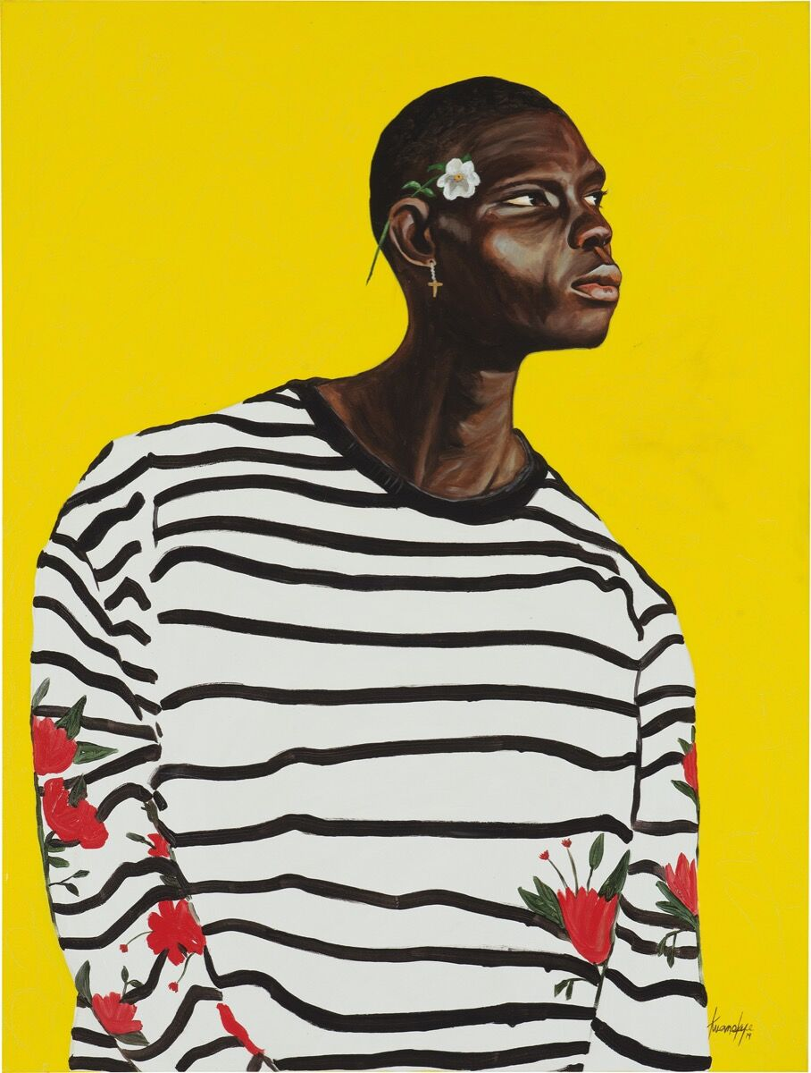 Otis Kwame Kye Quaicoe, Black Stripes on White, 2019. Courtesy of Phillips.