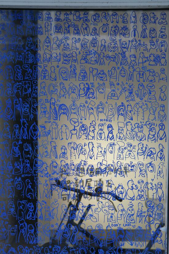 "Detail of Dan Perjovschi, ""Rebel,"" at the Arrow Factory, Beijing, 2010. Courtesy of the Arrow Factory."