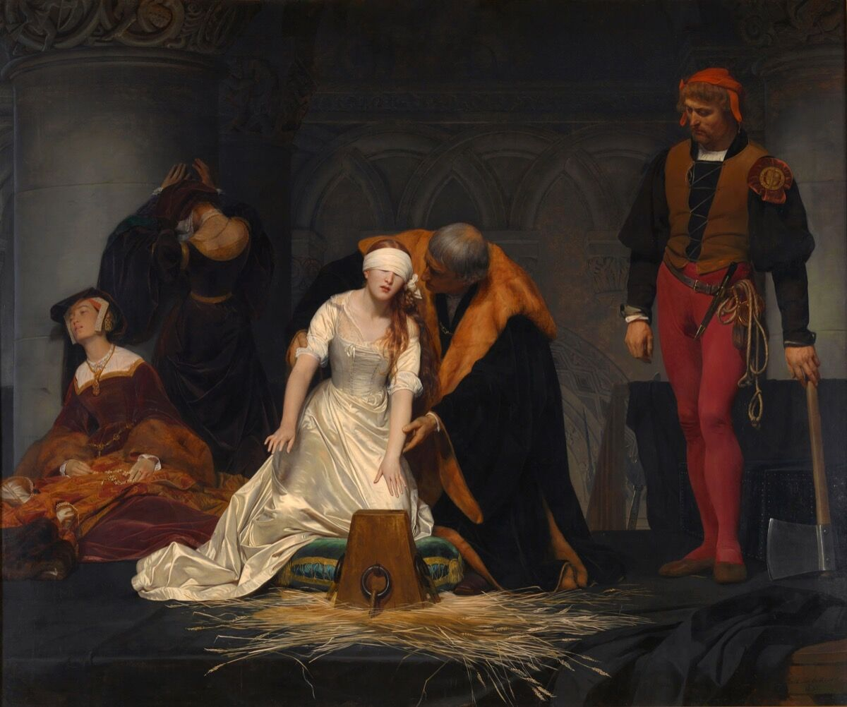 Paul Delaroche,The Execution of Lady Jane Grey, 1833. Collection of the National Gallery. Image via Wikimedia Commons.