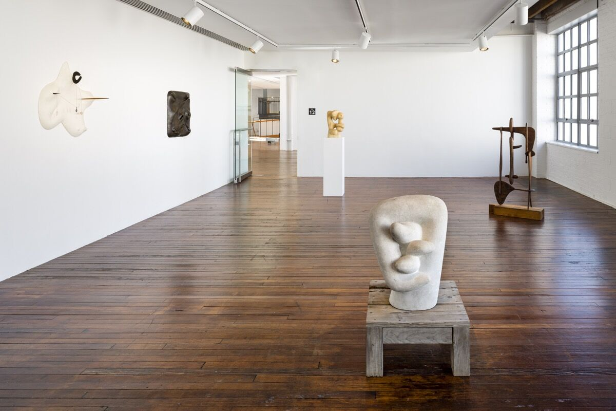 """Installation view of """"Self Interned."""" Photo by Nicholas Knight. © The Isamu Noguchi Foundation and Garden Museum, New York/ARS."""