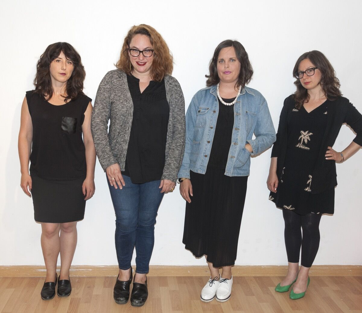 Sarah Thibault, Elizabeth Bernstein, Dana Hemenway, and Zoë Taleporos. Photo courtesy of Royal NoneSuch Gallery.