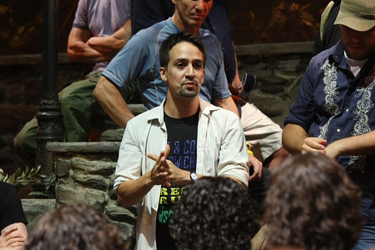 Lin-Manuel Miranda addresses the cast and creative crew of In The Heights at the Richard Rogers Theatre on August 2, 2010 in New York City. Photo by Neilson Barnard via Getty Images.