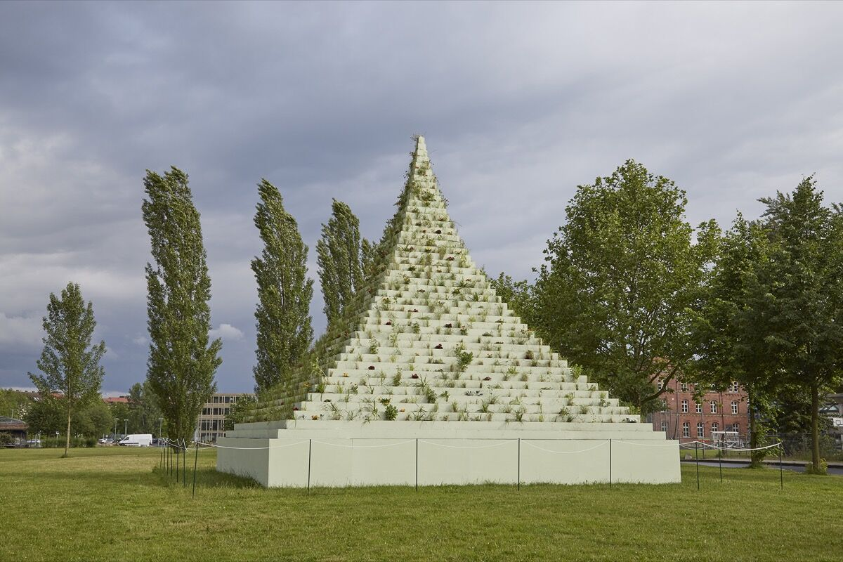 Agnes Denes, The Living Pyramid, 2015/2017, on view at documenta 14, 2017. Photo by Benjamin Westoby for Artsy.