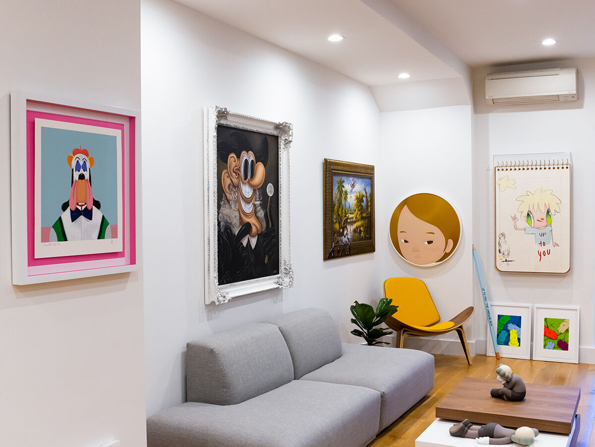 Installation view, from left to right, of works by George Condo, Baldur Helgason, Kenny Scharf, Yang Hyun Jun, Javier Calleja, and KAWS in Jonathan Montalvo's home. Courtesy of Jonathan Montalvo.