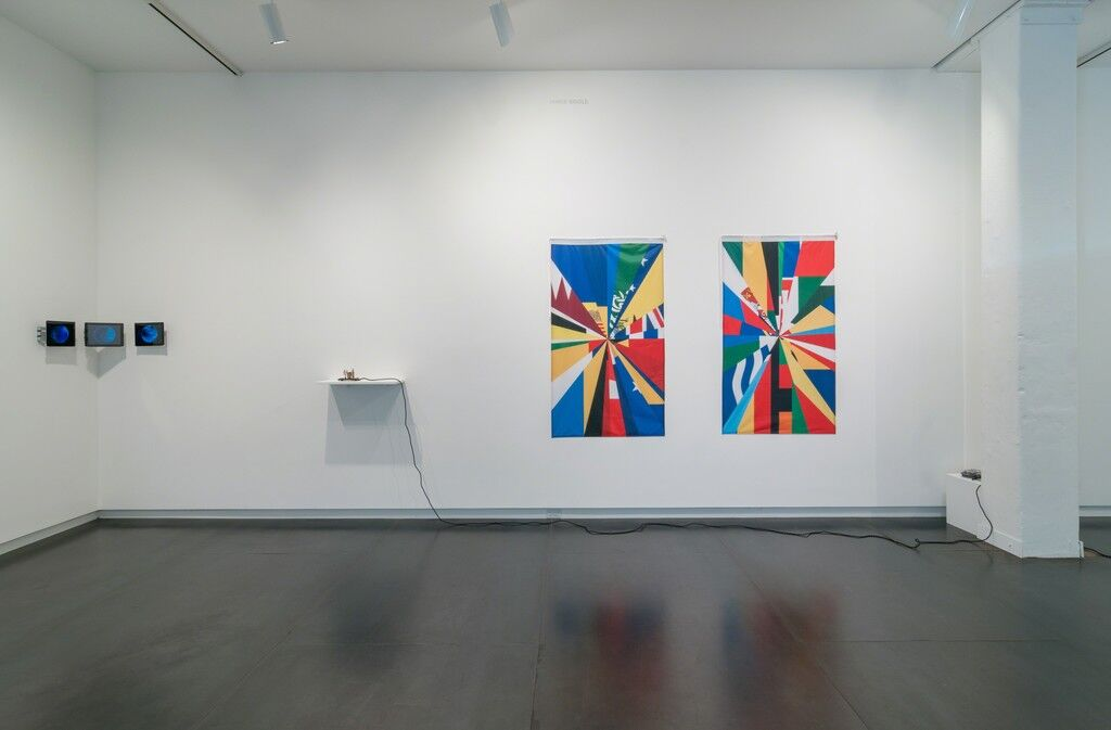 """Installation view of """"Eyebeam in Objects"""" at Upfor, 2015. Image courtesy of Upfor."""