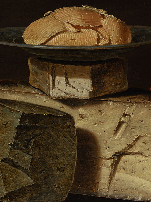 Detail of Clara Peeters,  Still Life with Cheeses, Almonds and Pretzels, 1615. Courtesy of Mauritshuis.