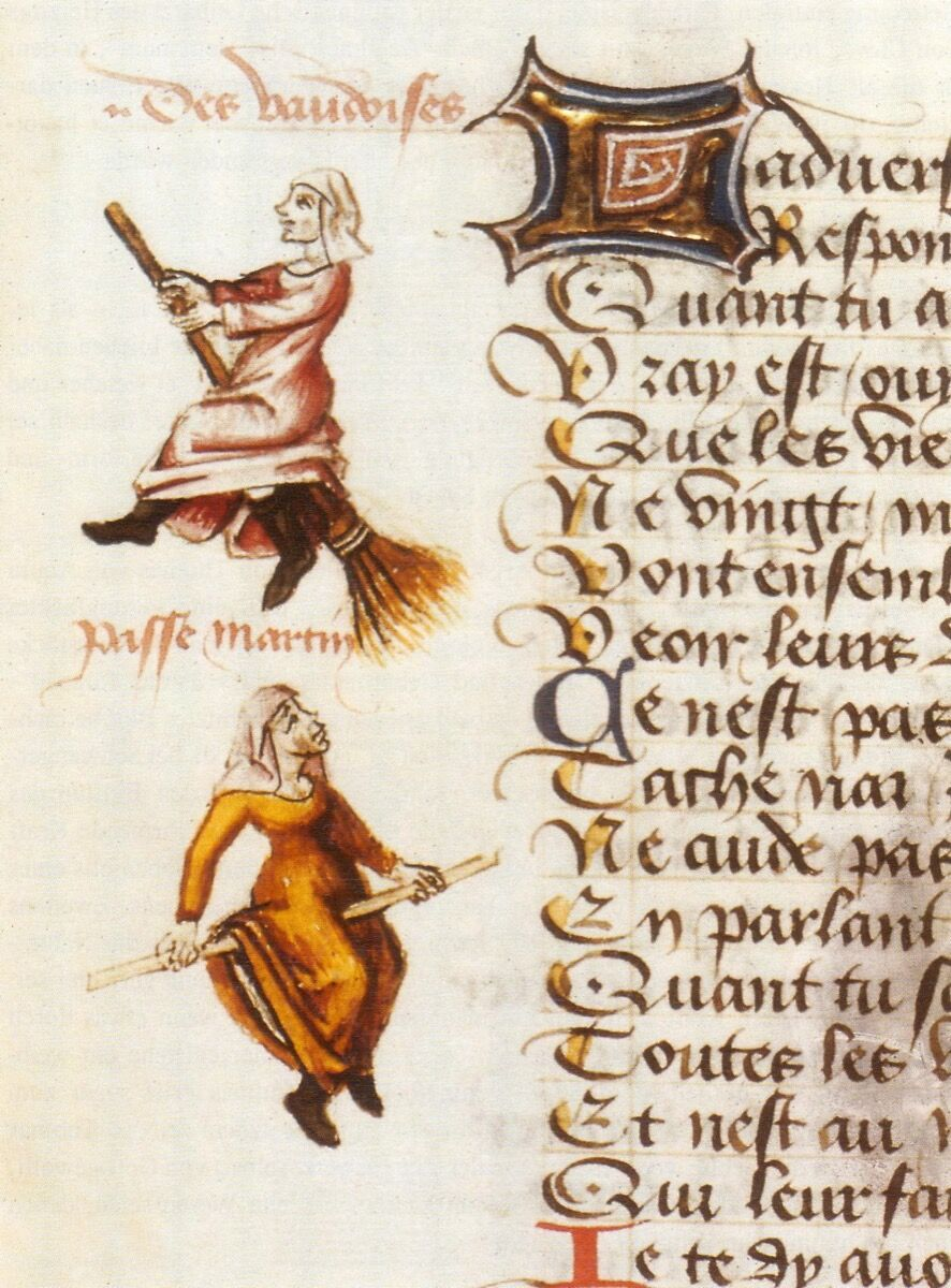 """Illumination depicting the two witches on a broomstick and a stick, in Martin Le Franc's Le Champion des dames (""""Ladies' Champion""""), 1451. Image via Wikimedia Commons."""