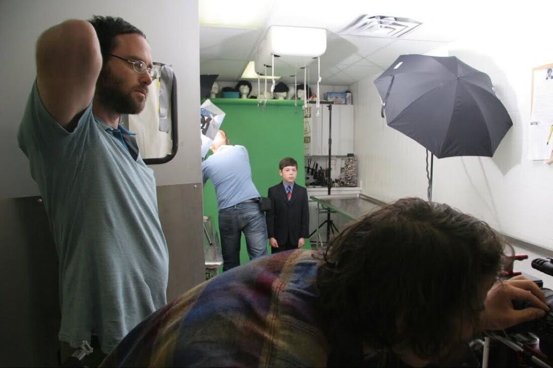 Omer Fast on set.Photo by Jill Frank.
