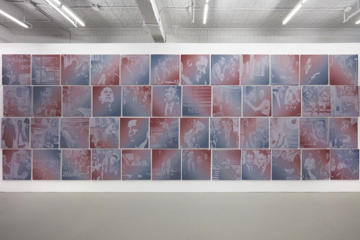 """Installation view of Rob Pruitt's """"The Obama Paintings,"""" 2016. Photo courtesy of Gavin Brown's enterprise, New York."""