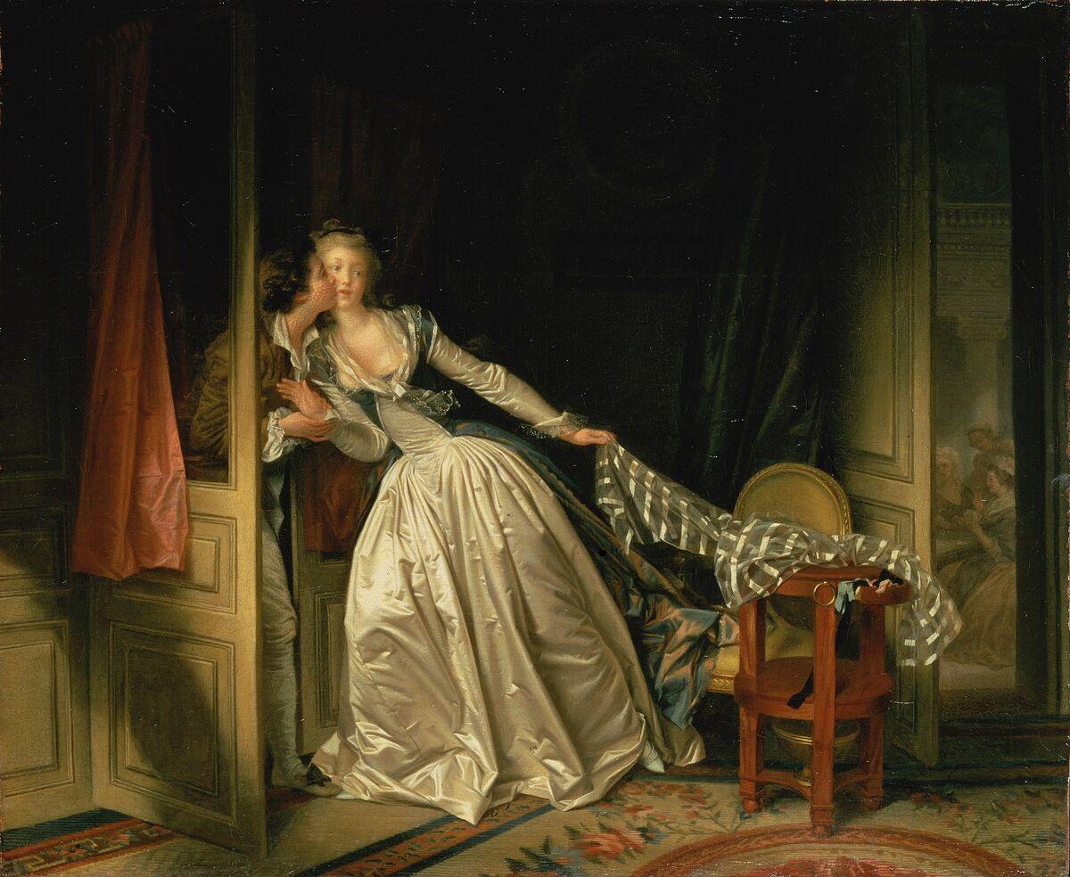 Jean-Honoré Fragonard, The Stolen Kiss, late 1780s. Image via Wikimedia Commons.