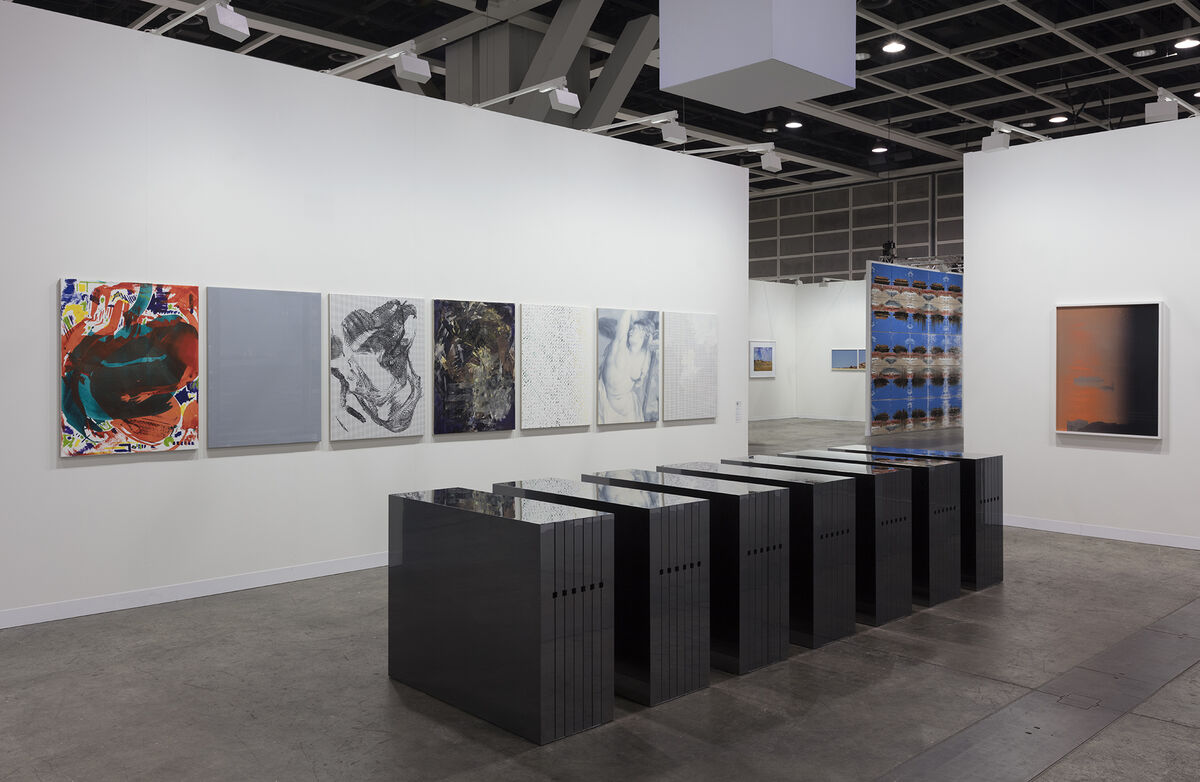 Installation view of Andrew Kreps Gallery's booth at Art Basel in Hong Kong, 2019. Photo by Andrea Rossetti. Courtesy of the artist and Andrew Kreps Gallery, New York.