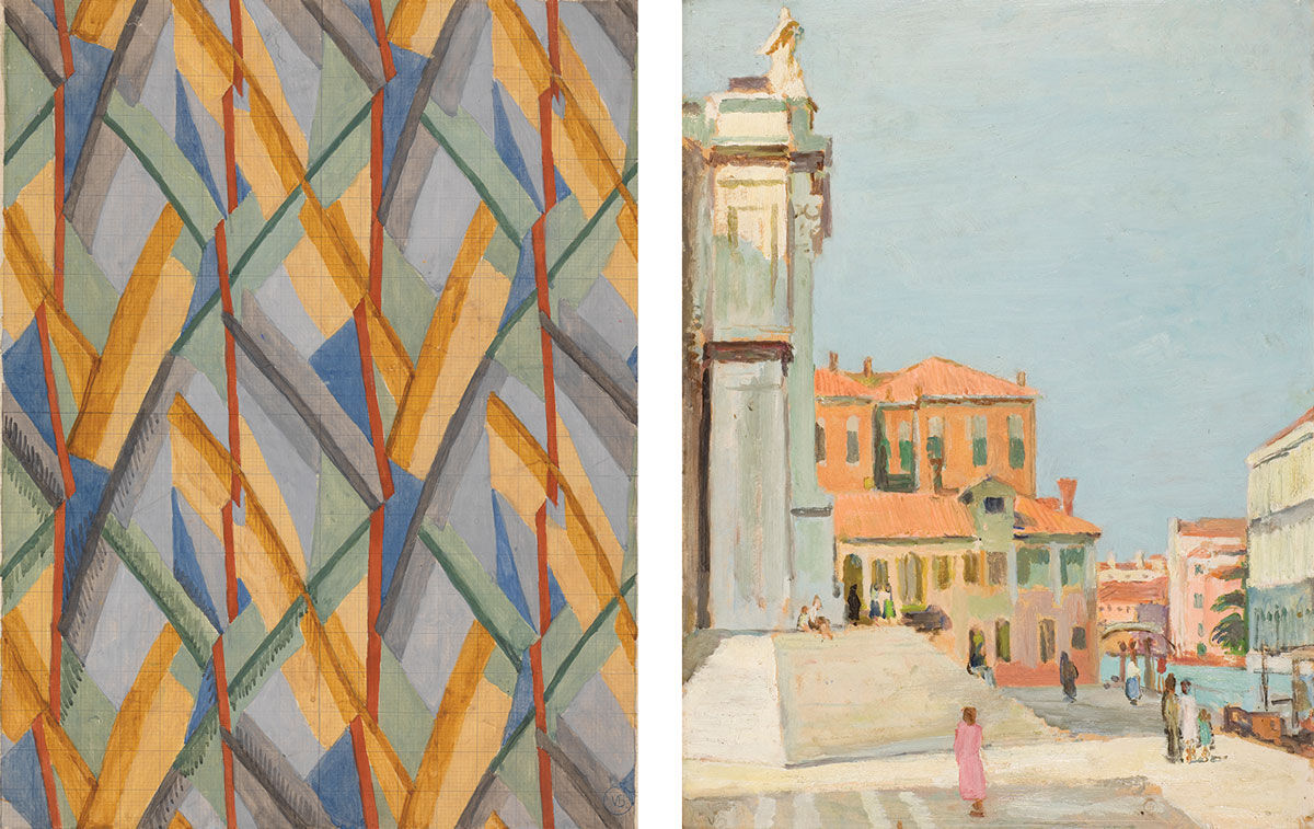 Left: Vanessa Bell, Design for Omega Workshops Fabric, 1913. Yale Center for British Art, Paul Mellon Fund. Right: Vanessa Bell, On the Steps of Santa Maria Salute, Venice, 1948. Images © The Estate of Vanessa Bell, courtesy of Henrietta Garnett.