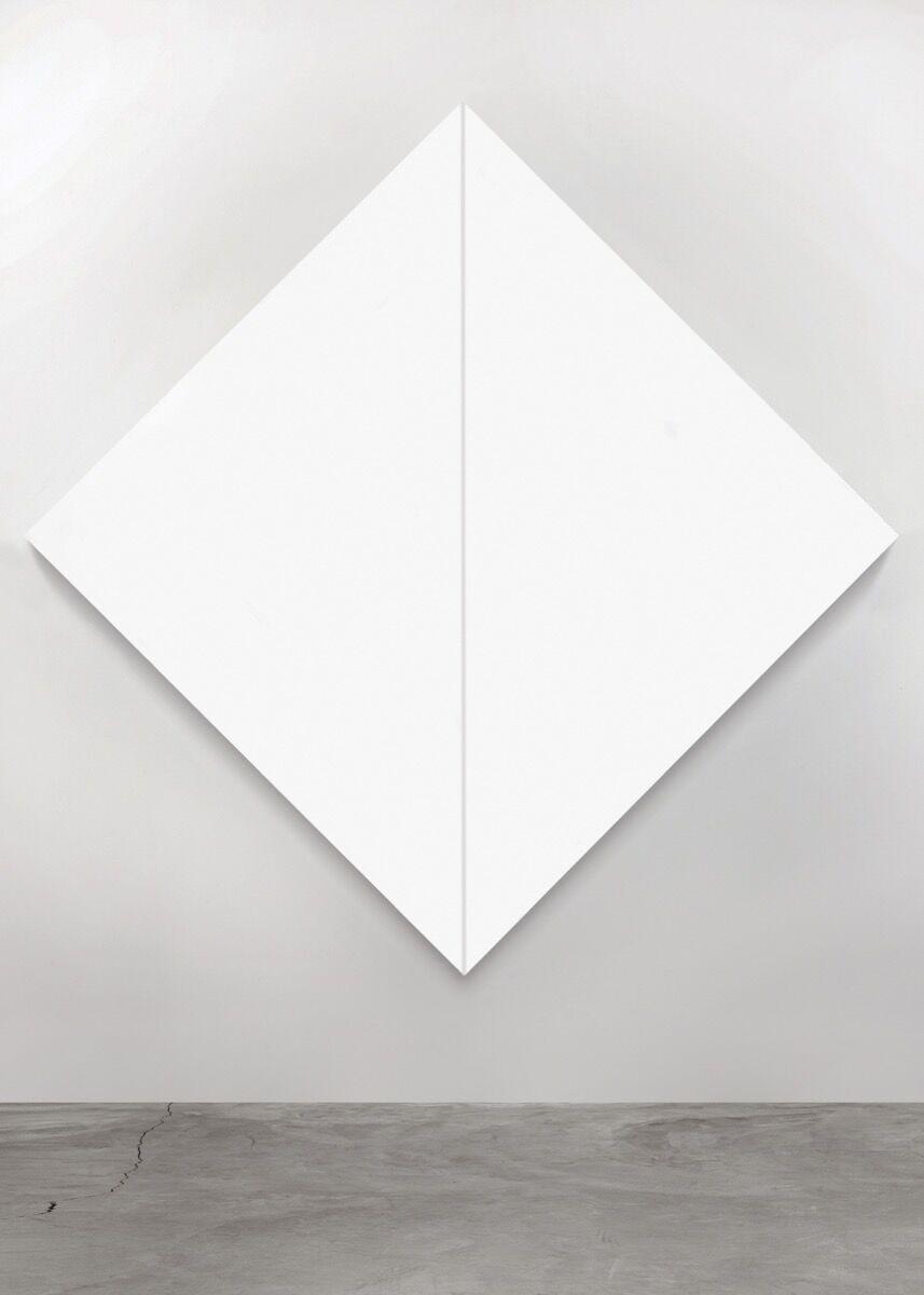 Mary Corse, Untitled (White Diamond, Negative Stripe), 1965. Photo © Mary Corse. Courtesy of Michael Straus.