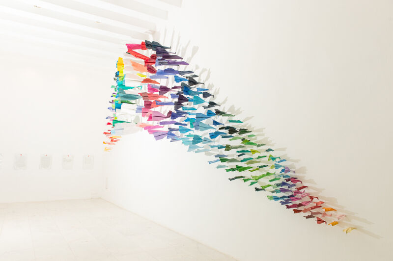"""Installation view""""The Last Discouraging Adventure of Blue and Joy,"""" on view atGalleria Ca' d'Oro."""