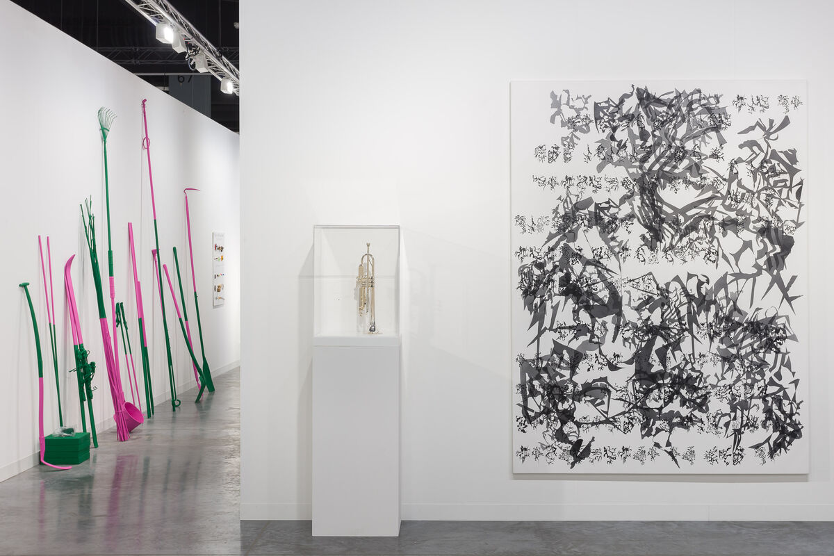 Installation view of Kurimanzutto's booth at Art Basel in Miami Beach, 2018. Photo by Mark Blower. Courtesy of Kurimanzutto, Mexico City and New York.