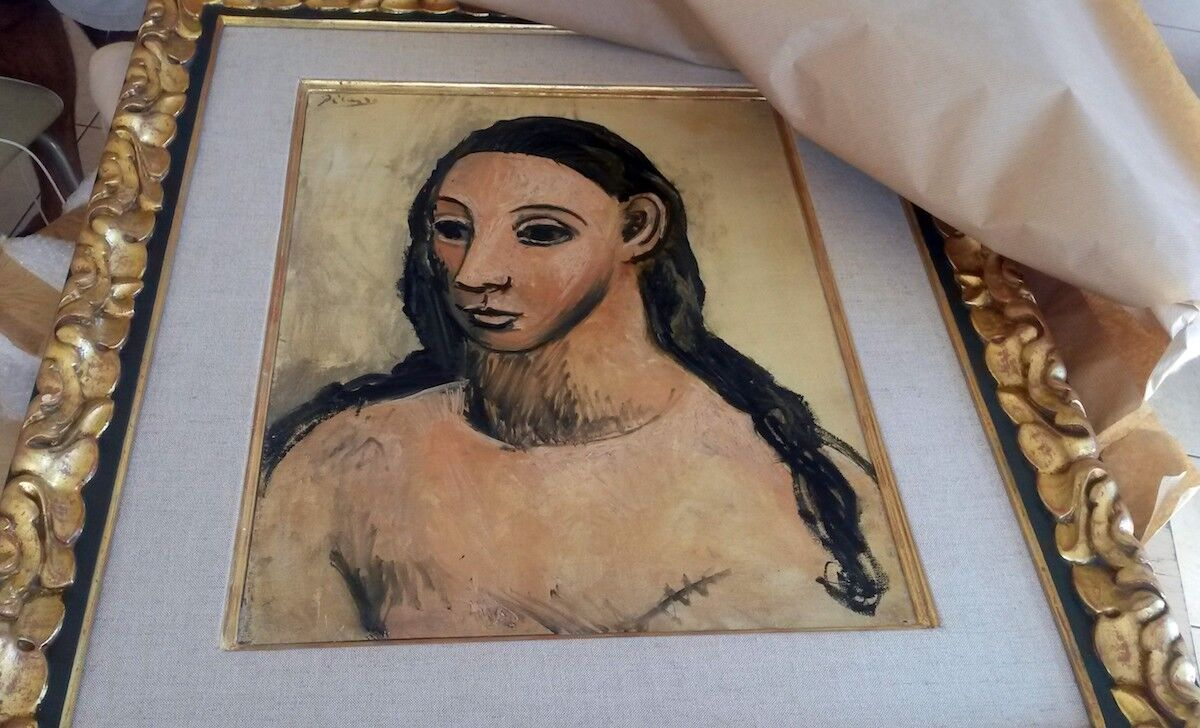 The seized painting Head of a Young Woman by Pablo Picasso. Photo by French Customs Office/Andalou Agency/Getty Images.