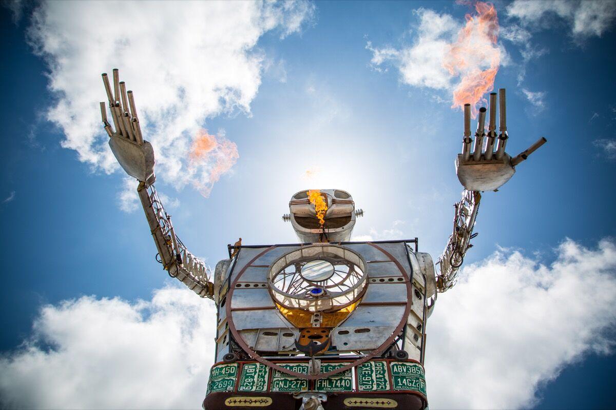Detail of Shane Evans, Robot Resurrection, 2014m at the Maker Faire, San Francisco. Courtesy of the artist.