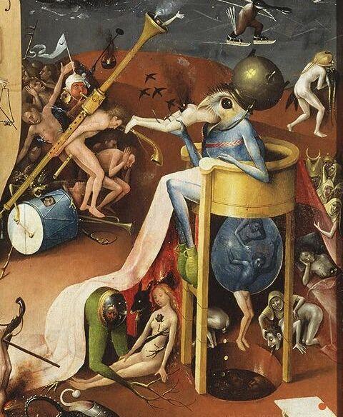 Detalle del panel derecho de Hieronymus Bosch, El jardín de las delicias, 1490-1500.  Imagen vía Wikimedia Commons.